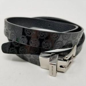 Michael Kors Logo Embossed Black Reversible Belt